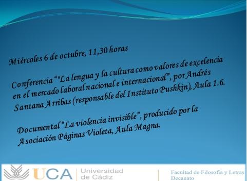 Actividades culturales 6 de octubre