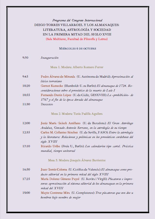 Se celebra en la Facultad el Congreso Internacional Diego Torres Villarroel y los almanaques los días 6 a 8 de octubre